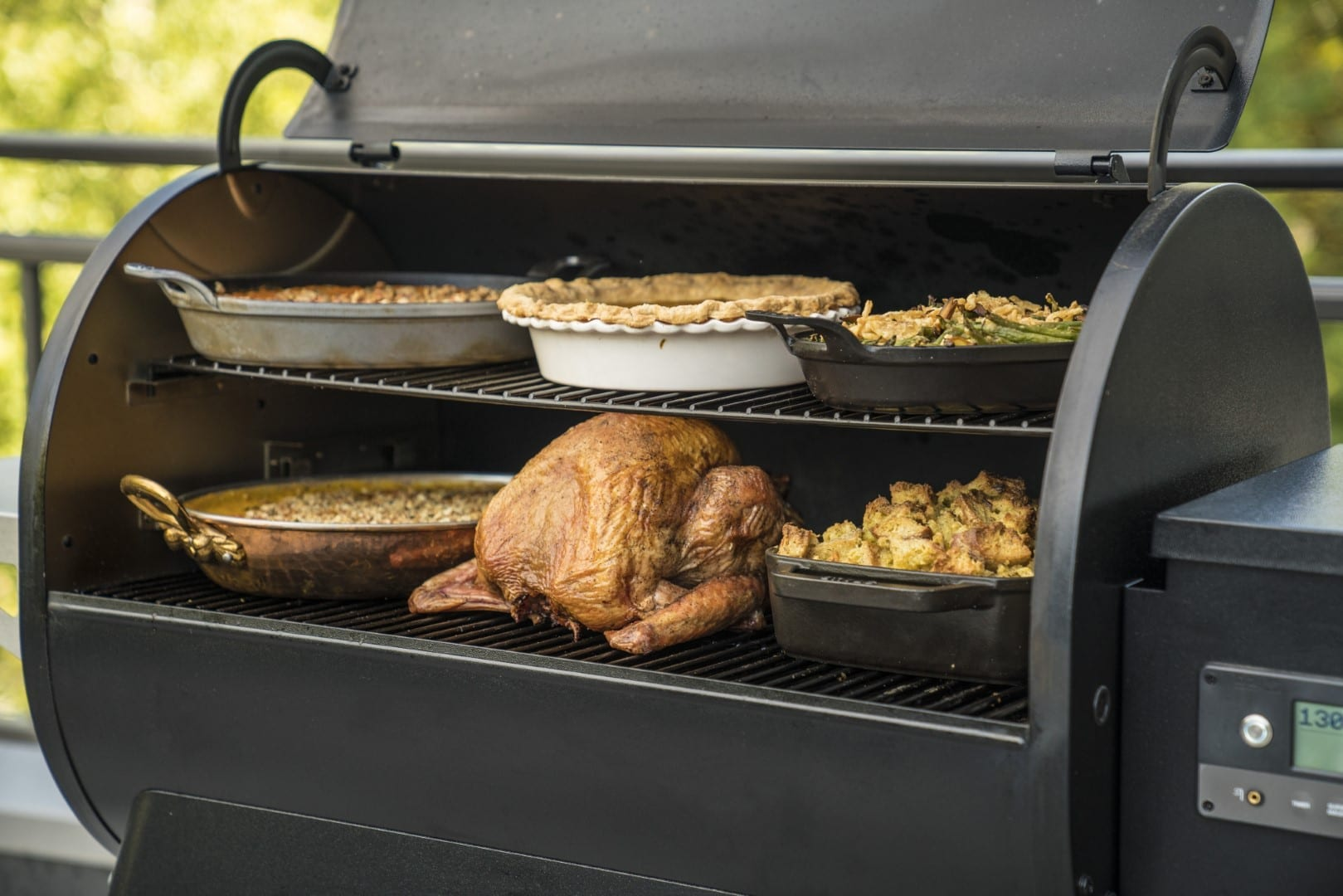 Cooking a Thanksgiving turkey in pellet Traeger grill