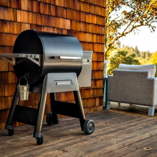 Traeger Ironwood 650 pellet grill on porch