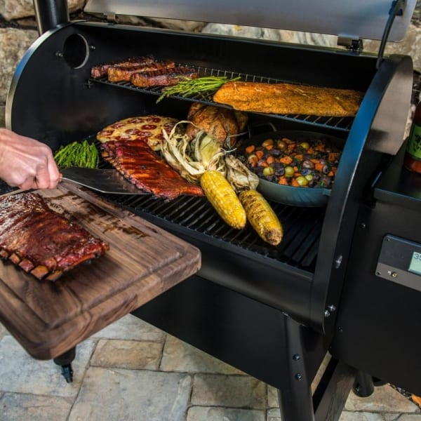 Corn and ribs on a Traeger Pro 575 pellet grill available in Portland