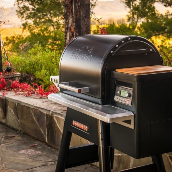 Traeger Timberline 850 pellet grill outside on deck
